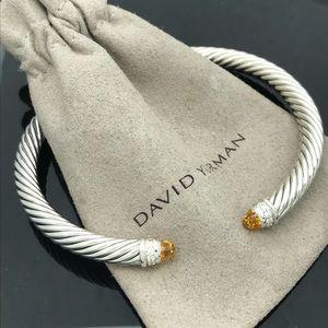 D.Yurman 5mm Cable Diamond Citrine Bracelet